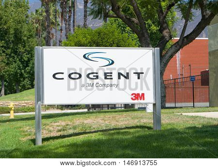 PASADENA CA/USA - SEPTEMBER 5 2016: Cogent Systems manufacting facility and sign. Cogent Systems Inc. is a manufacturer of automated fingerprint identification systems (AFIS).
