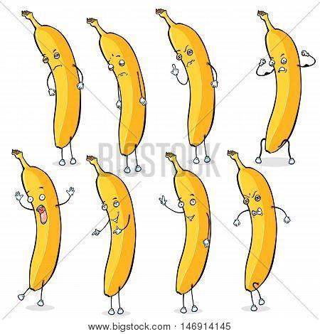 Vector Set Of Banana Characters.