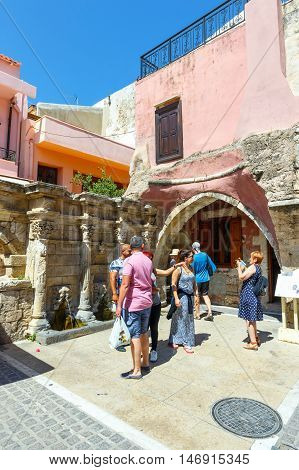 Rethymno Crete - 27 Maj 2016 : Unidentified people visit historical centre of Rethymno City on Crete Greece
