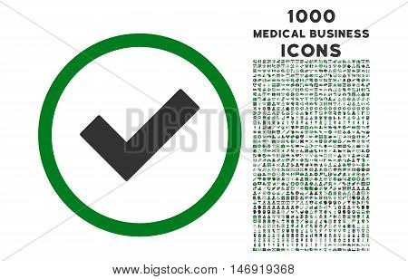 Accept rounded vector bicolor icon with 1000 medical business icons. Set style is flat pictograms, green and gray colors, white background.