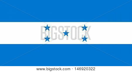 Flag of Honduras in correct size proportions and colors. Accurate official standard dimensions. Honduran national flag. Republic of Honduras patriotic symbol banner element background. Vector