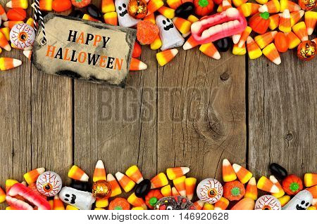 Happy Halloween Tag With Candy Double Border Against A Rustic Wood Background