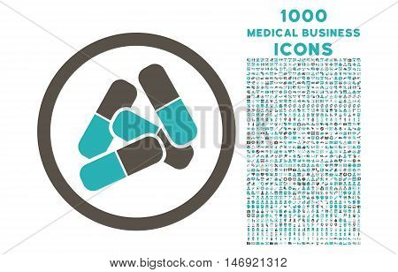 Pills rounded vector bicolor icon with 1000 medical business icons. Set style is flat pictograms, grey and cyan colors, white background.