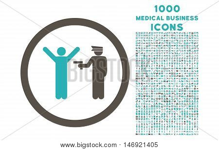 Police Arrest rounded vector bicolor icon with 1000 medical business icons. Set style is flat pictograms, grey and cyan colors, white background.