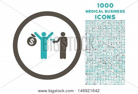 Robbery rounded vector bicolor icon with 1000 medical business icons. Set style is flat pictograms, grey and cyan colors, white background.