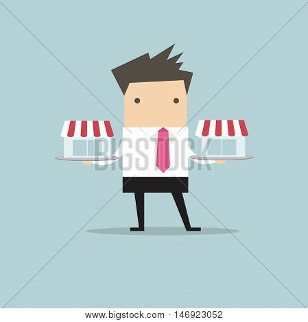 Businessman with franchis shop on tray, franchise concept. vector. flat design