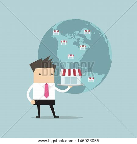 Businessman show his business on global, Franchise Concept.