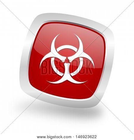 biohazard square glossy red chrome silver metallic web icon