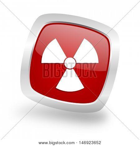 radiation square glossy red chrome silver metallic web icon