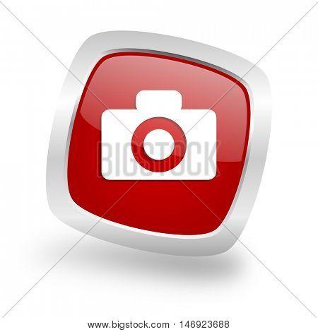 camera square glossy red chrome silver metallic web icon