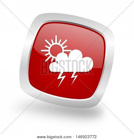 storm square glossy red chrome silver metallic web icon