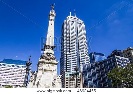 Indianapolis - Circa September 2016: Indianapolis Downtown Skyline from Monument Circle III