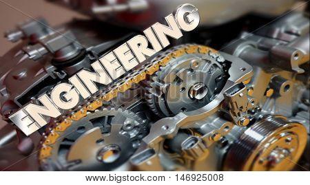 Engineering Word Engine Car Auto Motor 3d Illustration