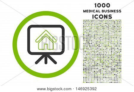 Project Slideshow rounded glyph bicolor icon with 1000 medical business icons. Set style is flat pictograms, eco green and gray colors, white background.