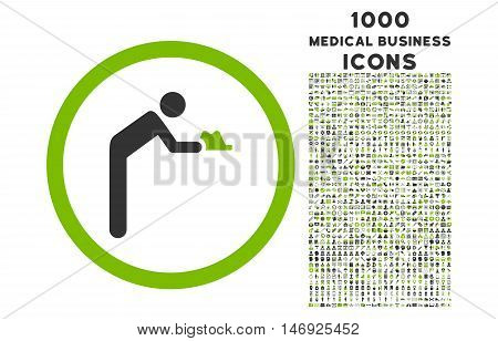 Servant rounded glyph bicolor icon with 1000 medical business icons. Set style is flat pictograms, eco green and gray colors, white background.