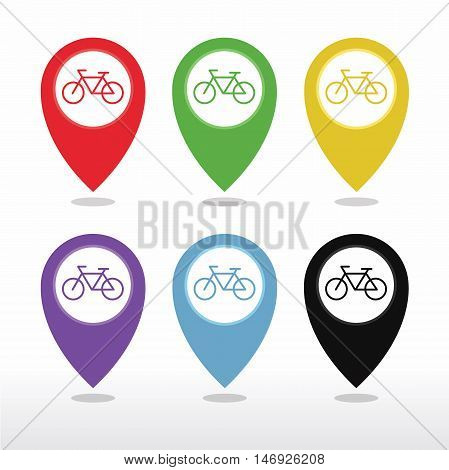 Bicycle, Bicycle Shop or Bicycle Parking Map Pointer Icon vector