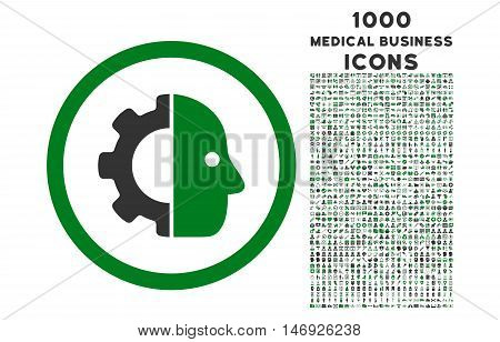 Cyborg rounded glyph bicolor icon with 1000 medical business icons. Set style is flat pictograms, green and gray colors, white background.
