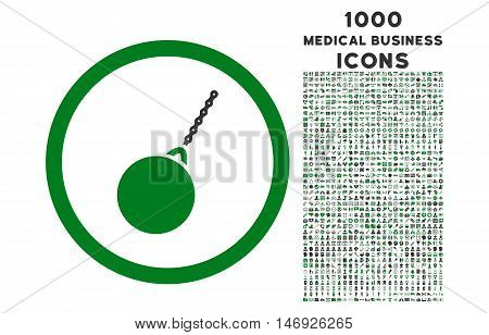 Destruction Hammer rounded glyph bicolor icon with 1000 medical business icons. Set style is flat pictograms, green and gray colors, white background.