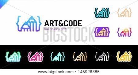 Two Pencil With Coding Symbol. Arrow Up Pen, Mountain Design Studio Logotype Set. Media Logo Sets. 1
