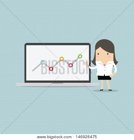 Businesswoman pointing at graph in laptop vector
