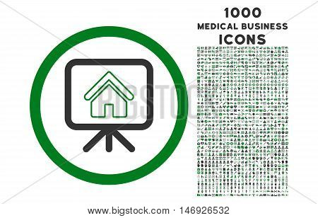 Project Slideshow rounded glyph bicolor icon with 1000 medical business icons. Set style is flat pictograms, green and gray colors, white background.