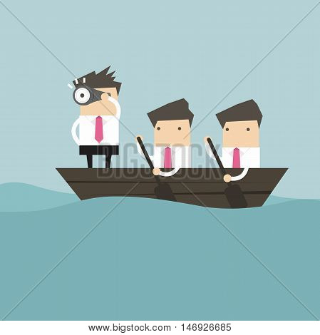 Businessmen in rowing boat two rowers one captain manager boss leader.