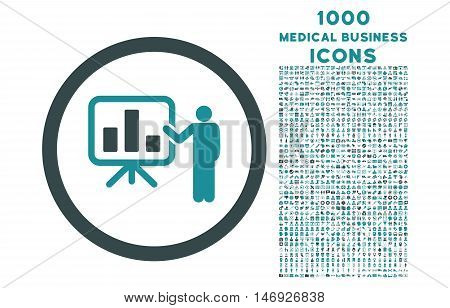 Bar Chart Presentation rounded glyph bicolor icon with 1000 medical business icons. Set style is flat pictograms, soft blue colors, white background.