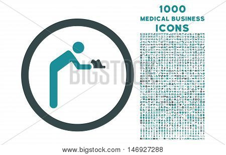 Servant rounded glyph bicolor icon with 1000 medical business icons. Set style is flat pictograms, soft blue colors, white background.