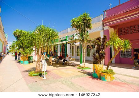 CIEGO DE AVILA, CUBA - SEPTEMBER 5, 2015: Walking boulevard with stores in Downtown of Ciego de Avila.  The city has a population of about 86, 100.