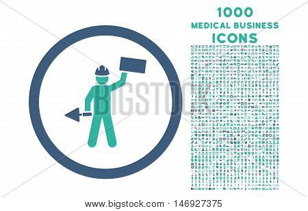 Builder With Shovel rounded glyph bicolor icon with 1000 medical business icons. Set style is flat pictograms, cobalt and cyan colors, white background.