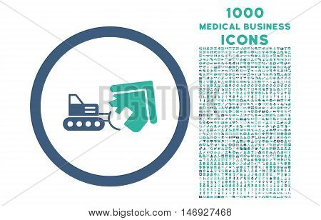Demolition rounded glyph bicolor icon with 1000 medical business icons. Set style is flat pictograms, cobalt and cyan colors, white background.
