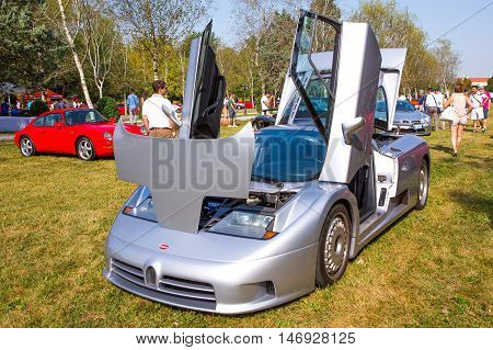 Mogliano VenetoItaly Sept 112016:Photo of a Bugatti EB 110 at meeting Top Selection 2016.The Bugatti EB 110 was a mid-engine sports car produced by Bugatti Automobili S.p.A. from 1991 to 1995 when the company went bankrupt.