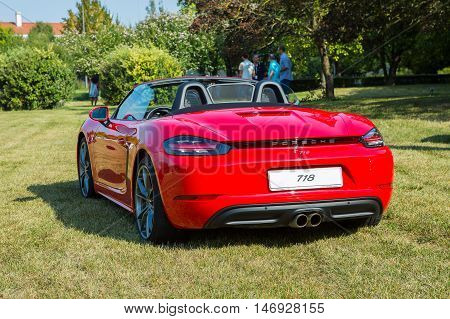 Mogliano VenetoItaly Sept 112016:Photo of a Porsche 718 at meeting Top Selection 2016. Introduced in 2016 for the 2017 model year the Porsche Boxster and Cayman were renamed the Porsche 718.