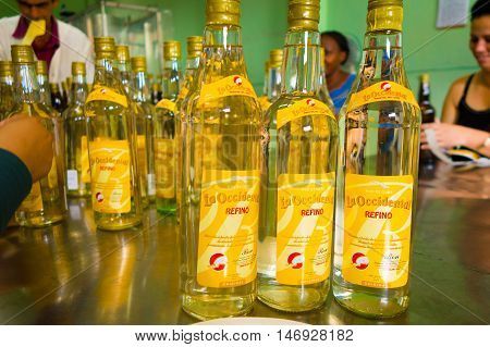PINAR DEL RIO, CUBA - SEPTEMBER 13, 2015: Guayabita rum and alcoholic beberages factory in the city centre