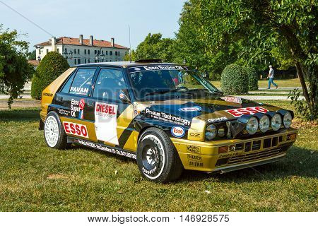 Mogliano VenetoItaly Sept 112016:Photo of a Lancia Delta Integrale Evoluzione 2 at meeting Top Selection 2016.Presented in June 1993 featured an updated version of the 2-litre 16v turbo engine to produce more power.