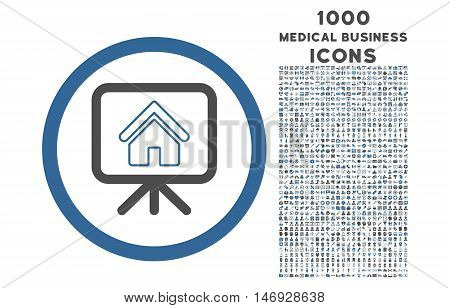 Project Slideshow rounded glyph bicolor icon with 1000 medical business icons. Set style is flat pictograms, cobalt and gray colors, white background.