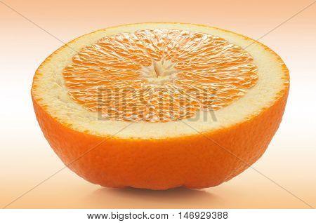 Extreme close-up image of slice of orange