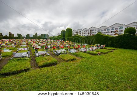 TULCAN, ECUADOR - JULY 3, 2016: tombs with headstones and flowers surrounded by plants sculptures.