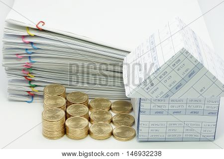 House And Step Pile Of Gold Coins