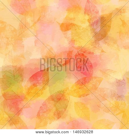 A vector watercolor background with abstract golden yellow and pink skeleton leaves faded and toned