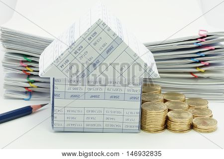 House With Step Pile Of Gold Coins