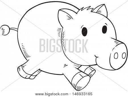Doodle Pig Vector Illustration Art