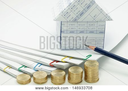 Step Pile Of Gold Coins And Step Pile Of Document