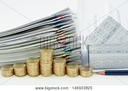 Step Pile Of Gold Coins With Pencil
