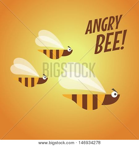 Angry bee flying flat design vector illustration