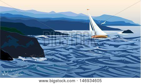Sailboat near a coast in a rough sea