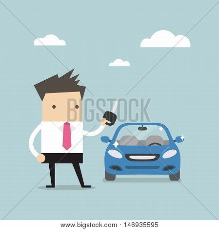 Businessman holding a key of a new car vector