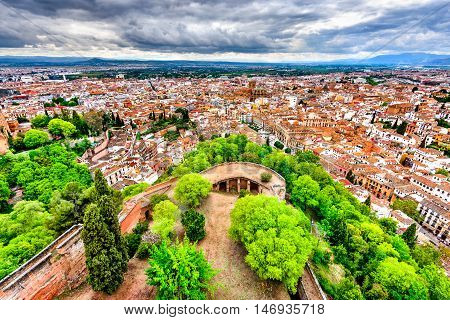 Granada Andalusia Spain. View of Albayzin ( Albaicin) from Alcazaba and Alhambra hill over the old city and Cathedral of Granada.