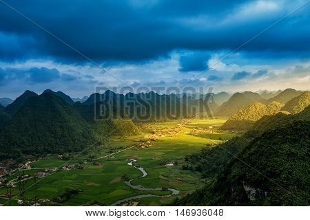 Rice field in valley around with mountain panorama view in Bac Son valley Lang Son Vietnam