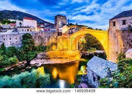 Mostar Bosnia and Herzegovina. The Old Bridge Stari Most with emerald river Neretva.